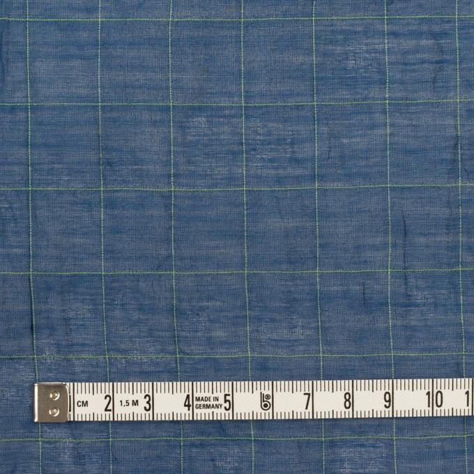 コットン&シルク混×チェック(インクブルー&ライム)×シャンブレー・オーガンジーワッシャー イメージ4