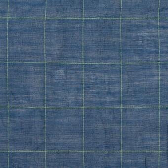 コットン&シルク混×チェック(インクブルー&ライム)×シャンブレー・オーガンジーワッシャー サムネイル1