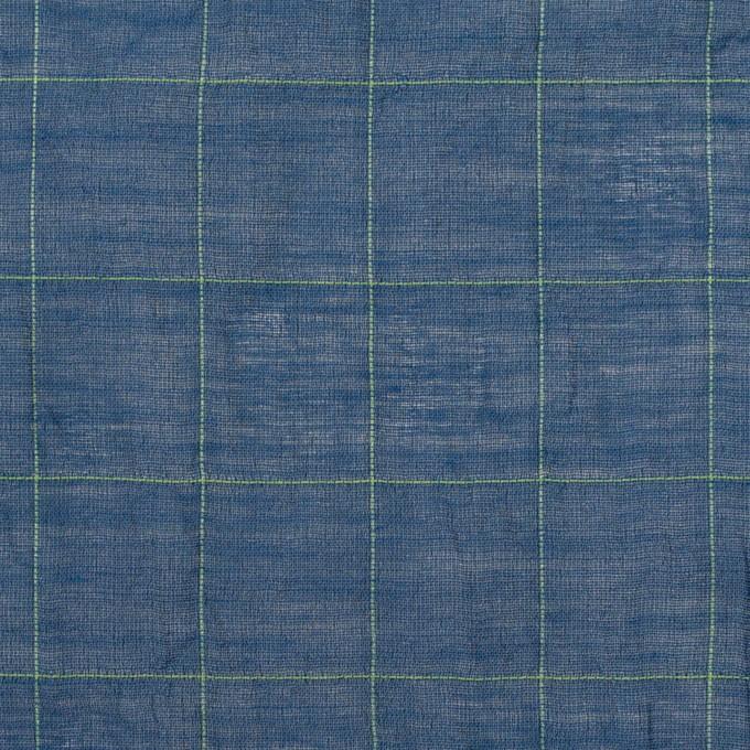 コットン&シルク混×チェック(インクブルー&ライム)×シャンブレー・オーガンジーワッシャー イメージ1