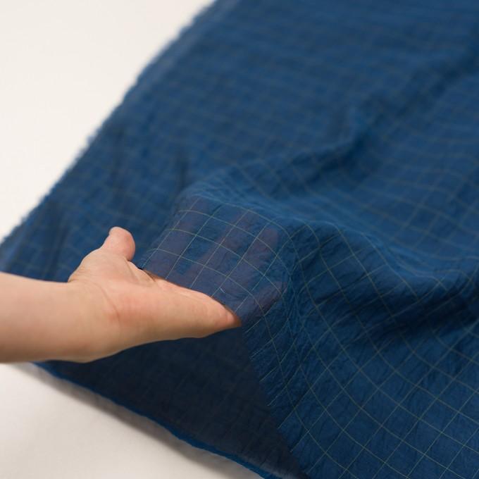コットン&シルク混×チェック(インクブルー&ライム)×シャンブレー・オーガンジーワッシャー イメージ5