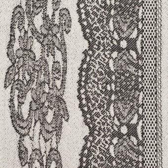 コットン&ポリウレタン×レース(オイスター&チャコール)×ジャガード・ストレッチ サムネイル1