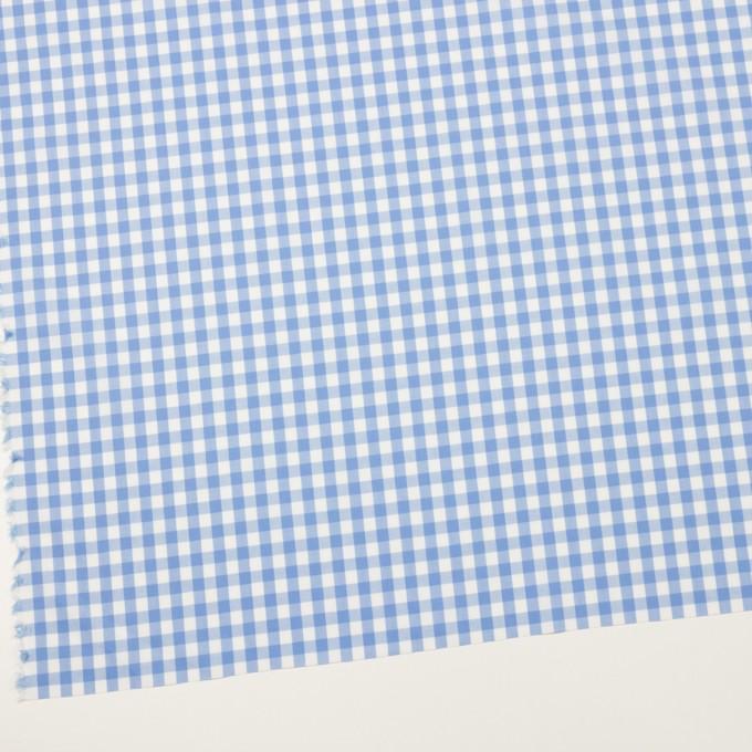 コットン&ポリウレタン×チェック(サックス)×ローンストレッチ イメージ2