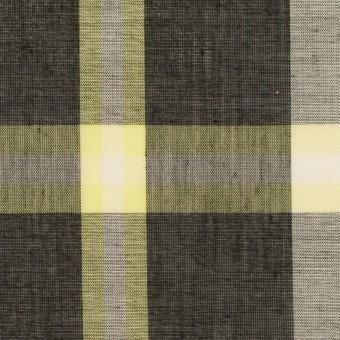 ポリエステル&コットン×チェック(レモン&チャコール)×ボイル サムネイル1