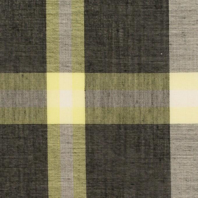 ポリエステル&コットン×チェック(レモン&チャコール)×ボイル イメージ1