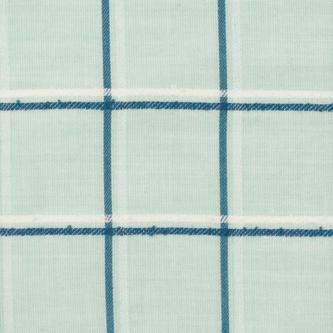 コットン×チェック(シャーベットグリーン、インクブルー&オフホワイト)×ボイルジャガード イメージ1