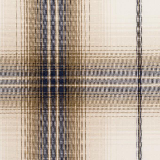 コットン&ポリエステル×チェック(モカ&ネイビー)×ブロード イメージ1
