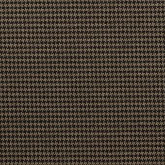 コットン&ポリエステル混×チェック(カーキ&ブラック)×千鳥格子ストレッチ