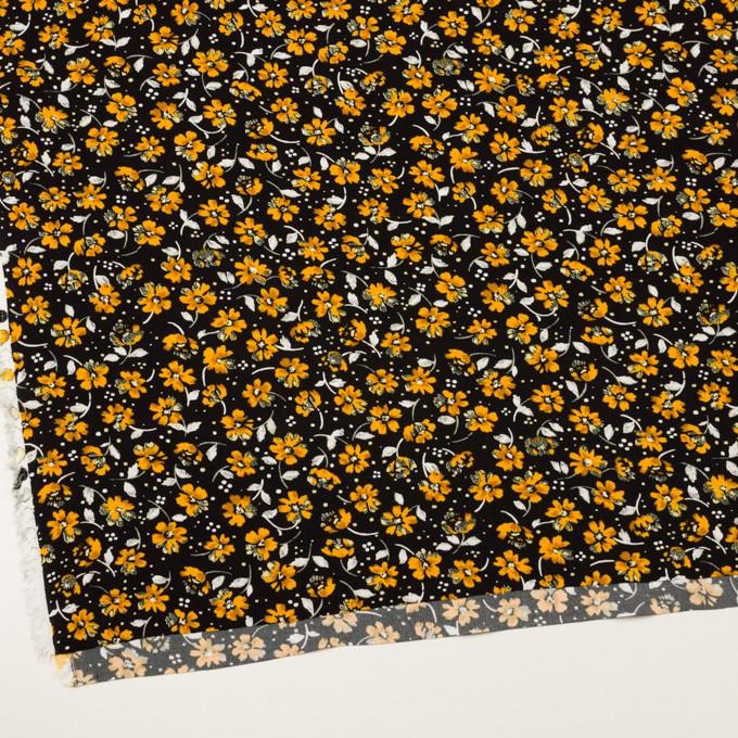 レーヨン×フラワー(ブラック&イエローゴールド)×デシン イメージ2