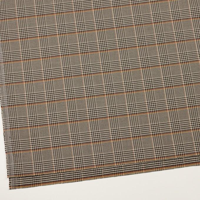 ポリエステル&レーヨン混×チェック(グレイッシュベージュ&ブラック)×サージストレッチ イメージ2