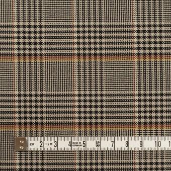 ポリエステル&レーヨン混×チェック(グレイッシュベージュ&ブラック)×サージストレッチ サムネイル4