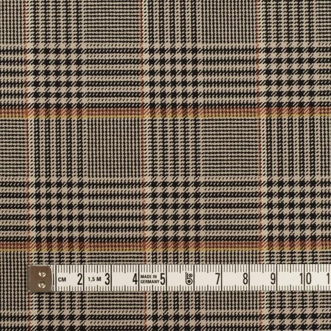 ポリエステル&レーヨン混×チェック(グレイッシュベージュ&ブラック)×サージストレッチ イメージ4