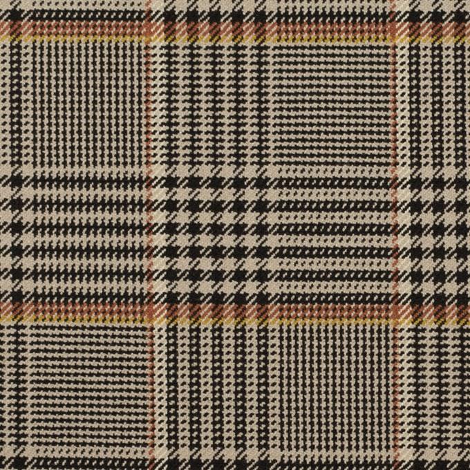 ポリエステル&レーヨン混×チェック(グレイッシュベージュ&ブラック)×サージストレッチ イメージ1