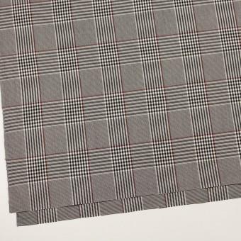 コットン&レーヨン混×チェック(チャコールブラック&バーガンディー)×サージストレッチ サムネイル2