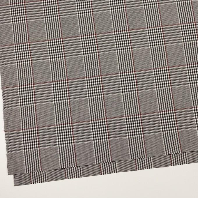 コットン&レーヨン混×チェック(チャコールブラック&バーガンディー)×サージストレッチ イメージ2