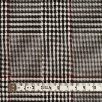 コットン&レーヨン混×チェック(チャコールブラック&バーガンディー)×サージストレッチ サムネイル4