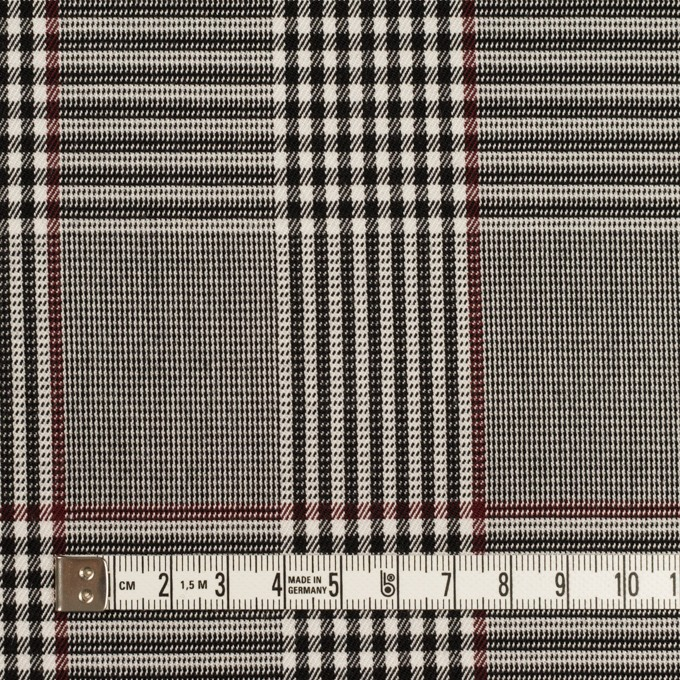 コットン&レーヨン混×チェック(チャコールブラック&バーガンディー)×サージストレッチ イメージ4