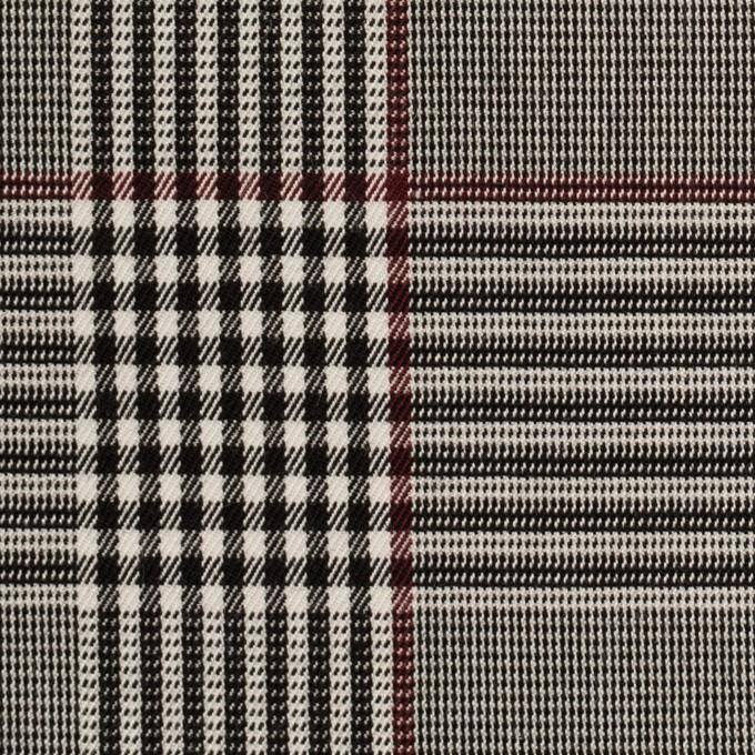 コットン&レーヨン混×チェック(チャコールブラック&バーガンディー)×サージストレッチ イメージ1