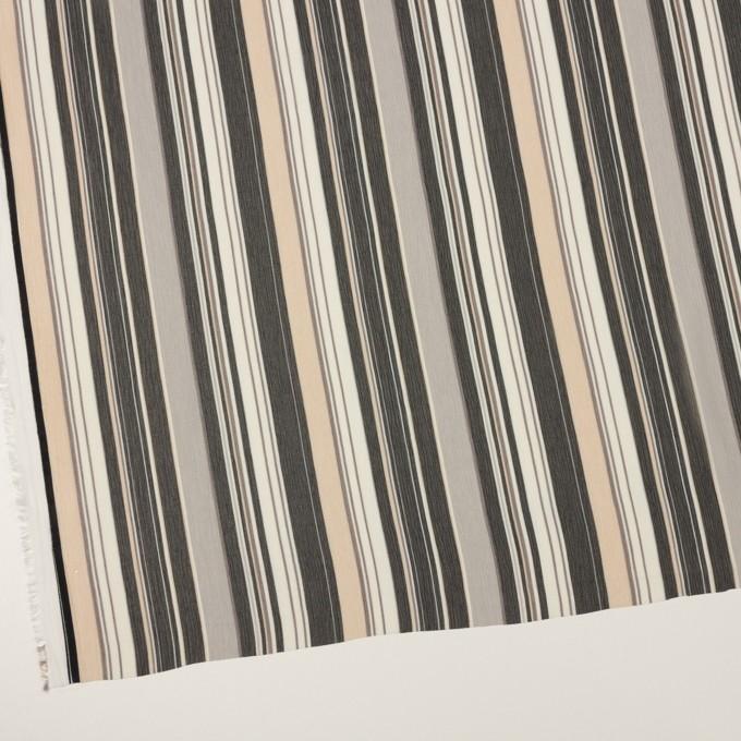 ポリエステル×ストライプ(ブラック、シルバー&ベージュ)×クレープジョーゼット イメージ2