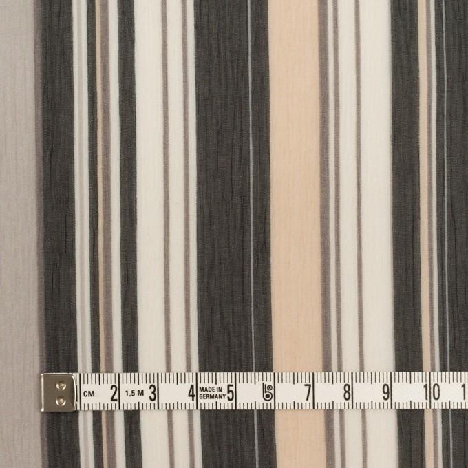 ポリエステル×ストライプ(ブラック、シルバー&ベージュ)×クレープジョーゼット イメージ4