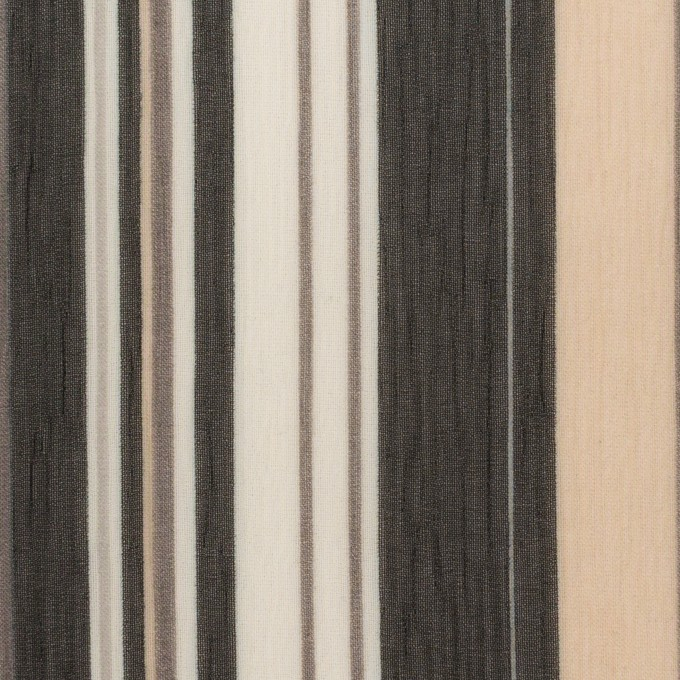 ポリエステル×ストライプ(ブラック、シルバー&ベージュ)×クレープジョーゼット イメージ1