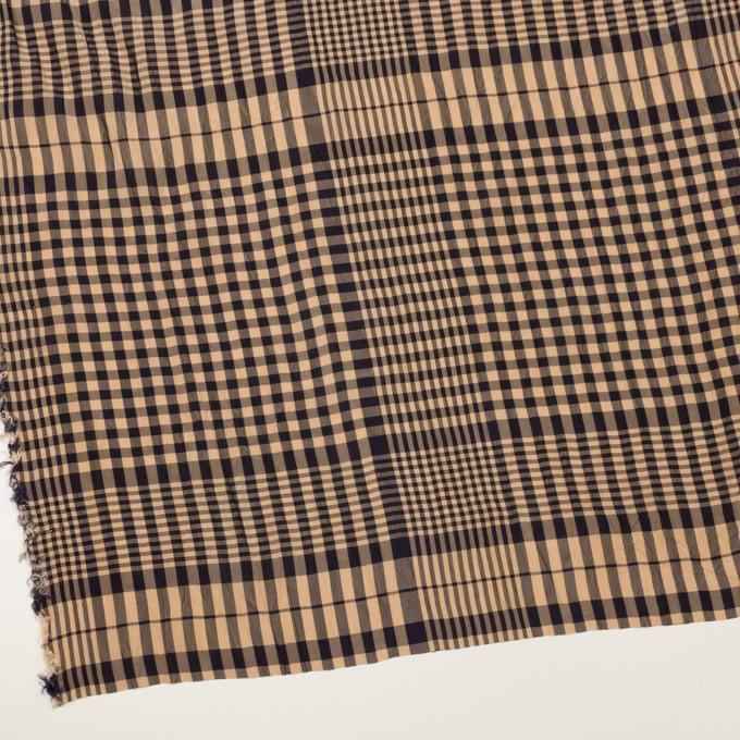 コットン&レーヨン×チェック(ベージュ&ダークネイビー)×ポプリンワッシャー イメージ2
