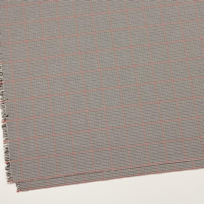 ポリエステル&ポリウレタン×チェック(アイボリー&チャコール)×千鳥格子ストレッチ イメージ2