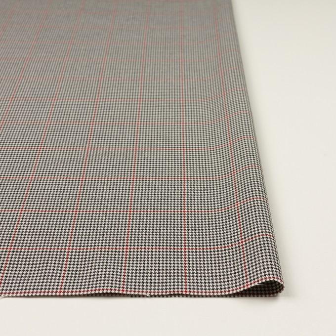 ポリエステル&ポリウレタン×チェック(アイボリー&チャコール)×千鳥格子ストレッチ イメージ3