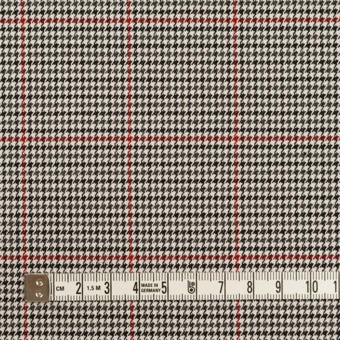ポリエステル&ポリウレタン×チェック(アイボリー&チャコール)×千鳥格子ストレッチ イメージ4