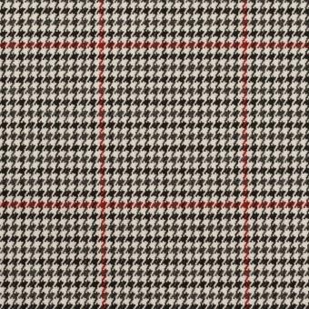 ポリエステル&ポリウレタン×チェック(アイボリー&チャコール)×千鳥格子ストレッチ
