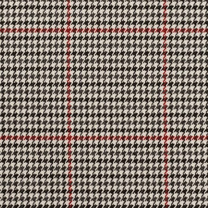 ポリエステル&ポリウレタン×チェック(アイボリー&チャコール)×千鳥格子ストレッチ イメージ1