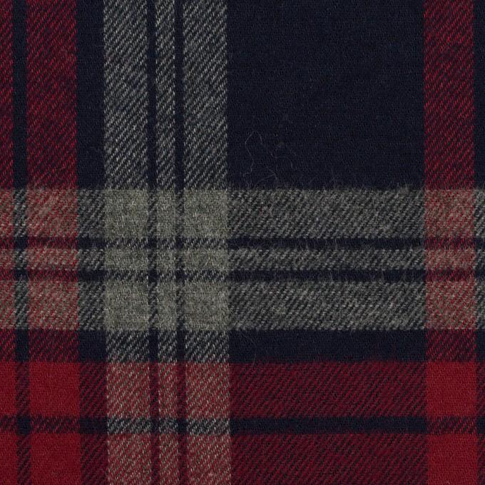 コットン×チェック(ネイビー、レッド&グレー)×ビエラ イメージ1