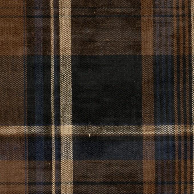 コットン×チェック(ブラウン&チャコール)×シーチング イメージ1
