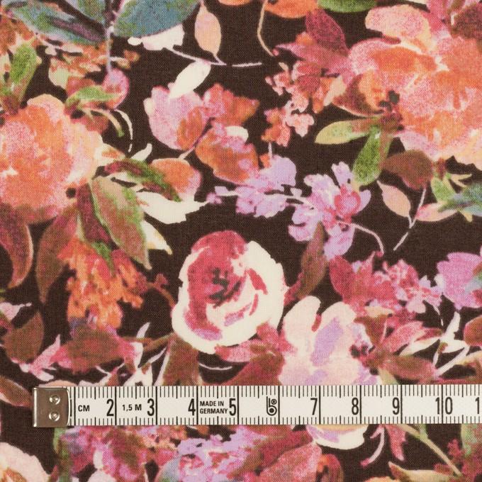コットン×フラワー(ダークブラウン、オレンジ&モーブ)×ローン イメージ4