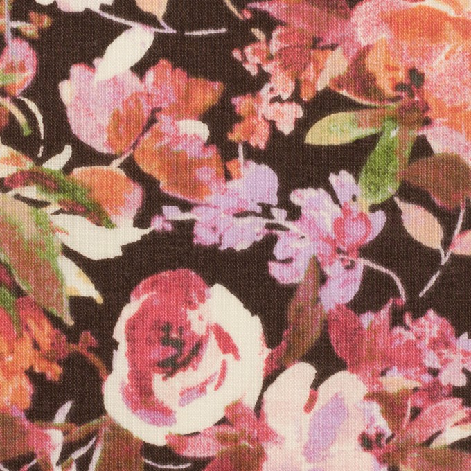 コットン×フラワー(ダークブラウン、オレンジ&モーブ)×ローン イメージ1
