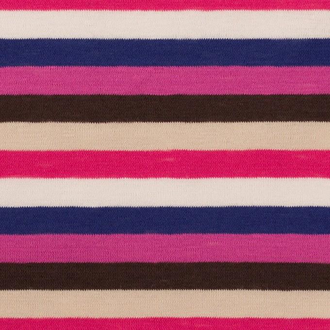 コットン×ボーダー(チェリーピンク、マリンブルー&ブラウン)×天竺ニット_全2色 イメージ1