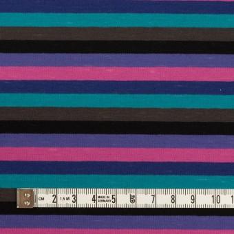 コットン×ボーダー(バイオレット、ターコイズ&モカ)×天竺ニット_全2色 サムネイル4