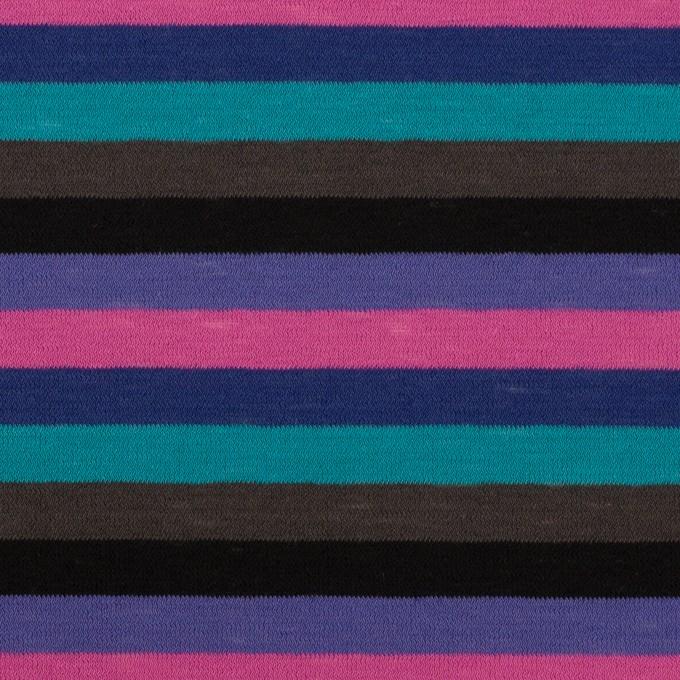 コットン×ボーダー(バイオレット、ターコイズ&モカ)×天竺ニット_全2色 イメージ1