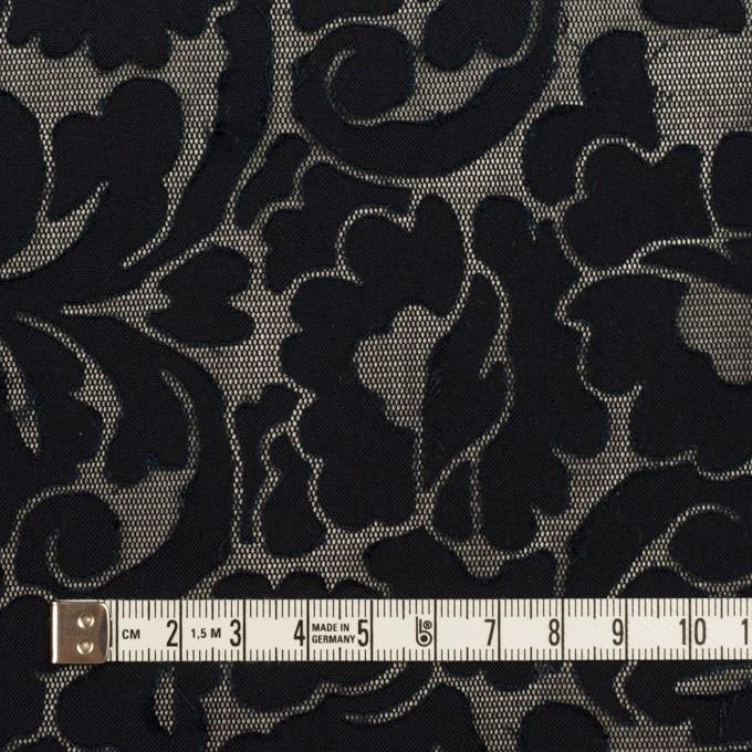 コットン&ポリエステル×幾何学模様(ダークネイビー&ブラック)×パワーネット(ボンディング) イメージ4