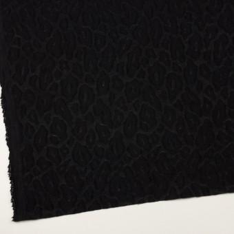 ウール&ナイロン×レオパード(ブラック)×ジャガード サムネイル2