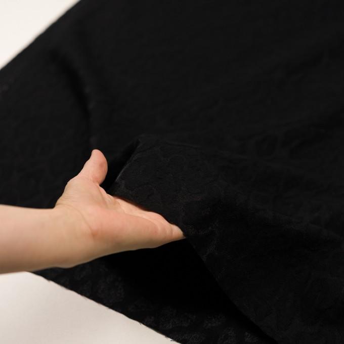 ウール&ナイロン×レオパード(ブラック)×ジャガード イメージ5