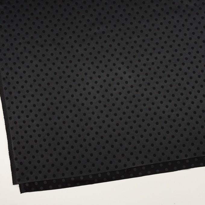 ポリエステル&ポリウレタン×ドット(ブラック)×サテンジャガード・ストレッチ イメージ2