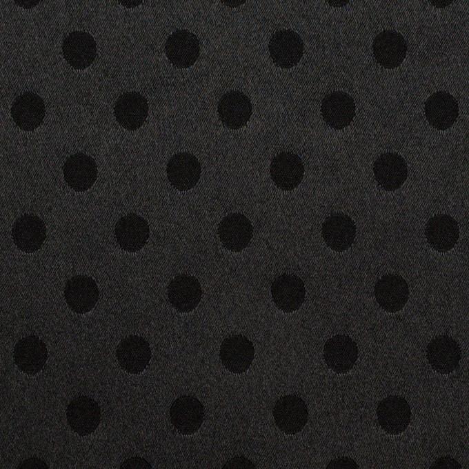 ポリエステル&ポリウレタン×ドット(ブラック)×サテンジャガード・ストレッチ イメージ1