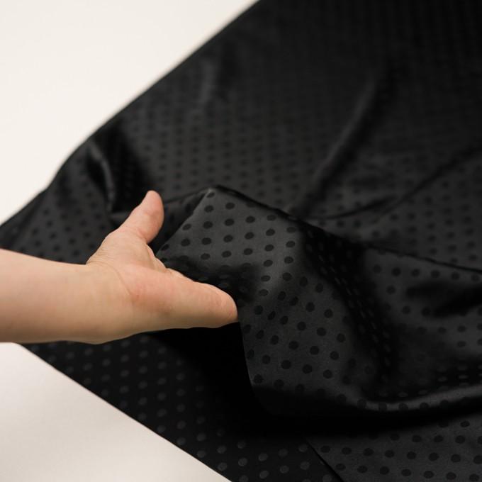 ポリエステル&ポリウレタン×ドット(ブラック)×サテンジャガード・ストレッチ イメージ5