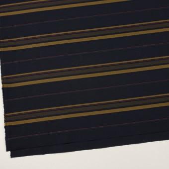 コットン×ボーダー(ブルーブラック&オーカー)×ブロードジャガード サムネイル2