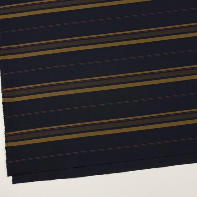 コットン×ボーダー(ブルーブラック&オーカー)×ブロードジャガード イメージ2