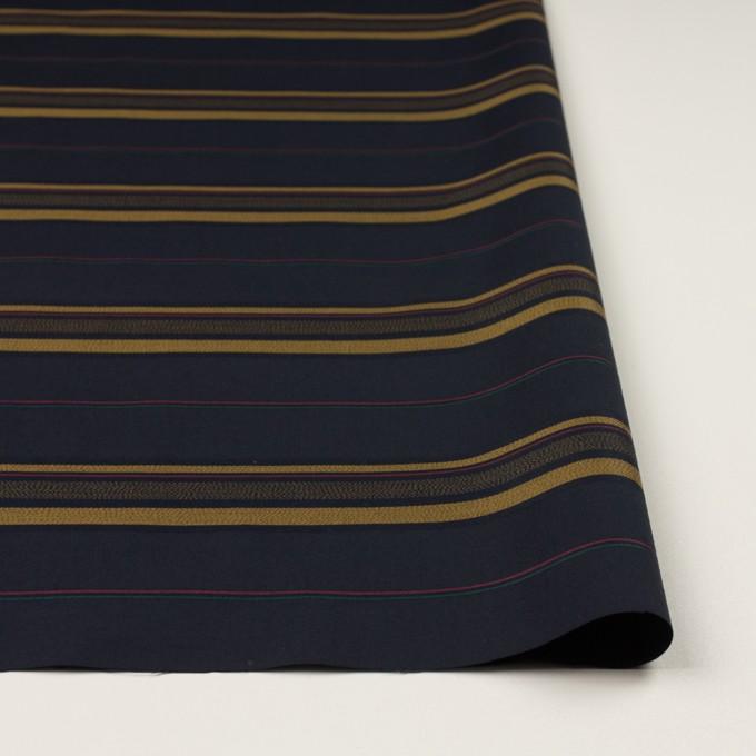 コットン×ボーダー(ブルーブラック&オーカー)×ブロードジャガード イメージ3