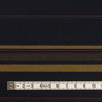 コットン×ボーダー(ブルーブラック&オーカー)×ブロードジャガード サムネイル4
