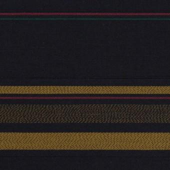 コットン×ボーダー(ブルーブラック&オーカー)×ブロードジャガード