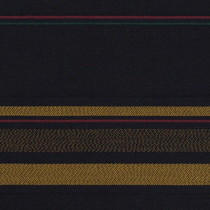 コットン×ボーダー(ブルーブラック&オーカー)×ブロードジャガード イメージ1