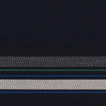 コットン×ボーダー(ダークネイビー&ネイビー)×ブロードジャガード